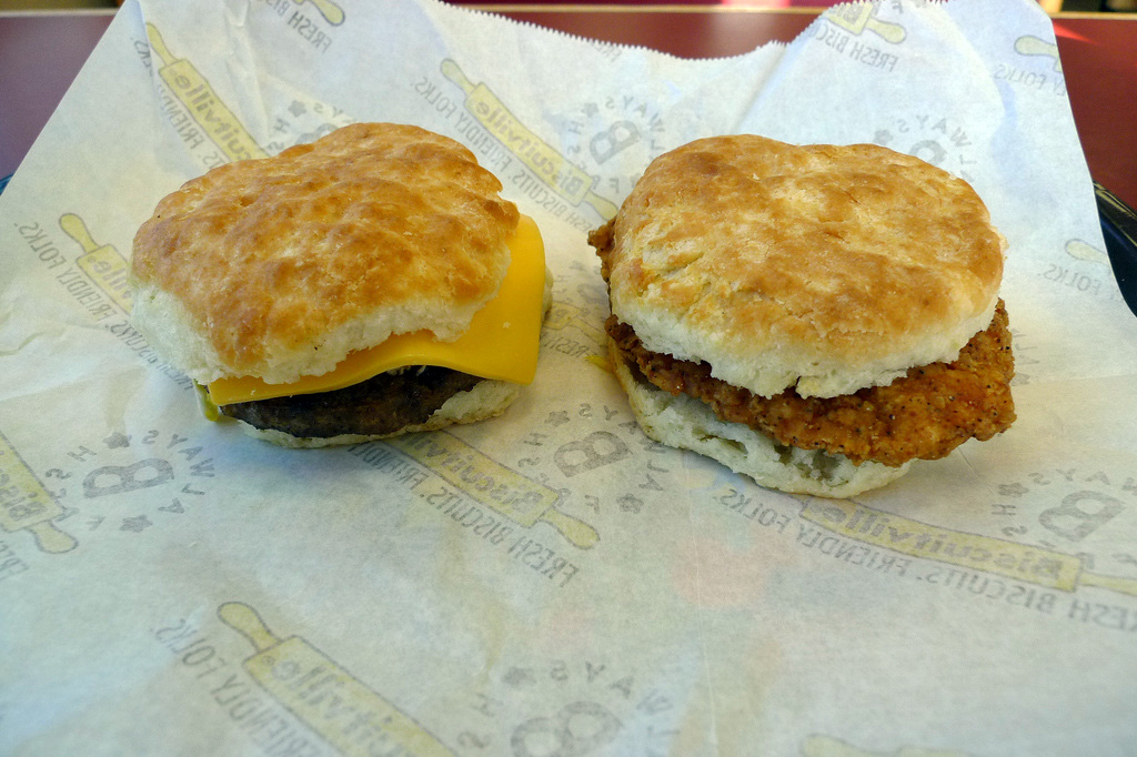 Aforementioned fried chicken biscuit on the right was mighty tasty.