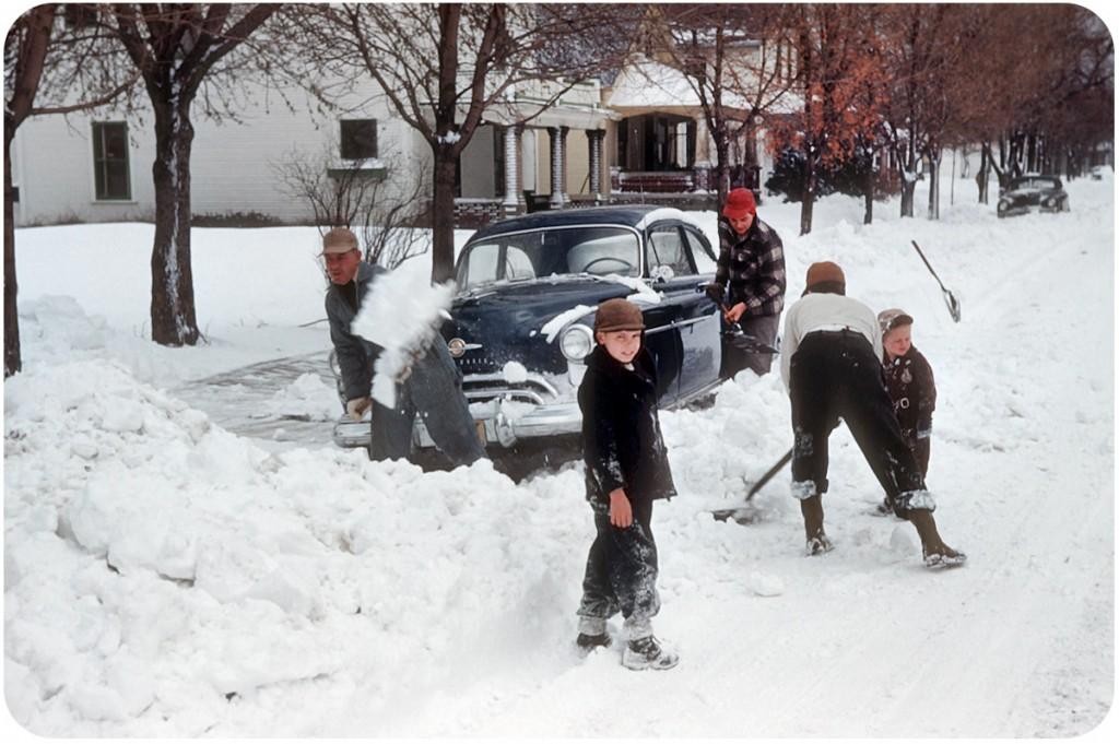 Kodachrome Snow Day In Xenia Ohio C 1950 A Continuous Lean