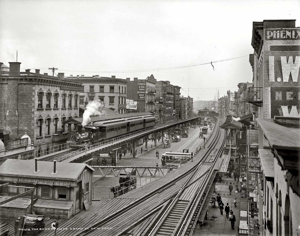 Clanking locomotives on bowery the third ave el train for House of tracks